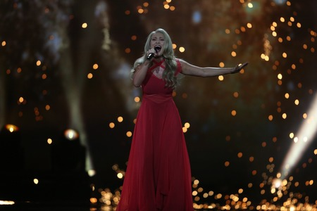 anja: KYIV, UKRAINE - MAY 10, 2017:  Anja Nissen from Denmark at the second semi-final rehearsal during Eurovision Song Contest, in Kyiv, Ukraine