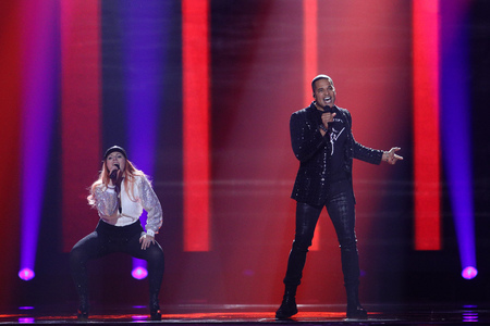 KYIV, UKRAINE - MAY 10, 2017: Valentina Monetta & Jimmie Wilson from San Marino at the second semi-final rehearsal during Eurovision Song Contest, in Kyiv, Ukraine