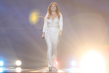 KYIV, UKRAINE - MAY 10, 2017:  Claudia Faniello from Malta at the second semi-final rehearsal during Eurovision Song Contest, in Kyiv, Ukraine