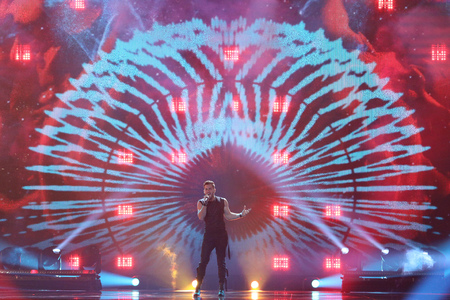 KYIV, UKRAINE - MAY 10, 2017:  Imri Ziv from Israel at the second semi-final rehearsal during Eurovision Song Contest, in Kyiv, Ukraine Editorial