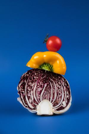 신선한 계절 야채의 근접 촬영보기