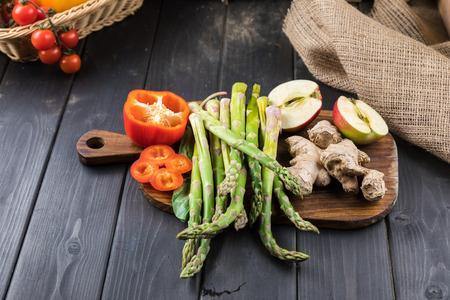 fresh vegetables on rustic wooden background Reklamní fotografie