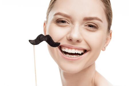 beautiful young woman with black mustaches on stick Banco de Imagens