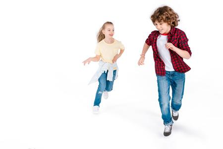 プレイ キャッチで遊ぶ子供たち 写真素材
