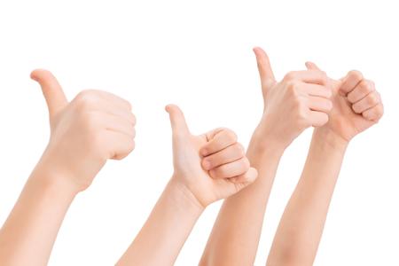 Hands gesturing thumbs up
