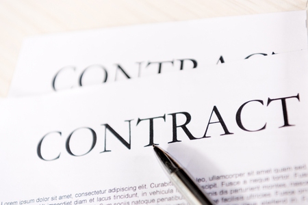 Close-up view of contract inscription