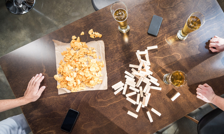 wooden blocks, beer and chips