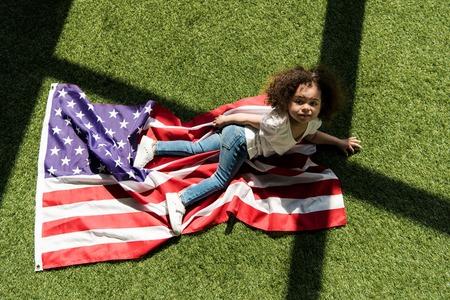 Cute girl with american flag
