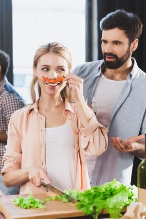girl with chili pepper as mustache Banco de Imagens