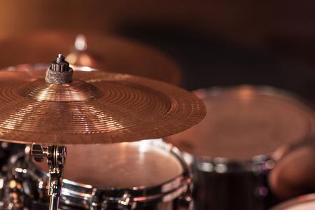 drums set for hard rock concert on stage