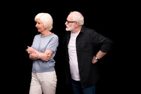 Senior couple gesturing Stock Photo
