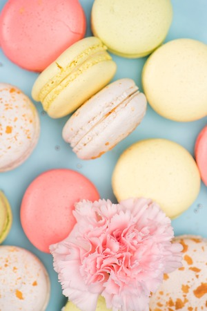 Top view of colorful fresh macarons background with pink flower Stock Photo