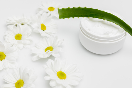 Close-up view of natural cream in container, aloe vera plant and chamomiles isolated on white