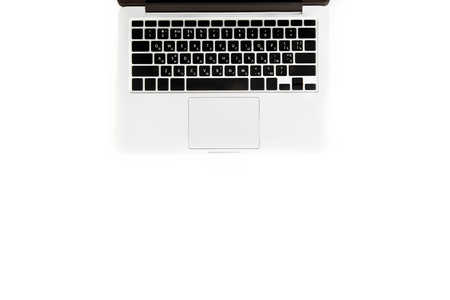 flat lay with laptop computer isolated on white with copy space,