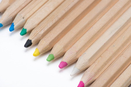 set of wooden color pencils isolated on white