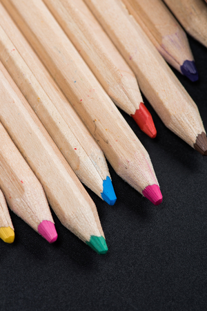 Close-up view of set of wooden color pencils Stock Photo