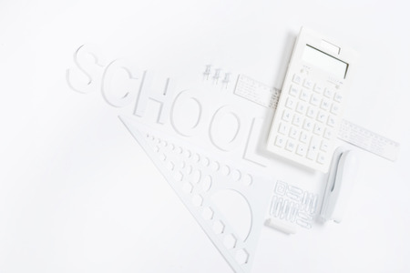 calculator with rulers and stapler with compasses mock-up 版權商用圖片