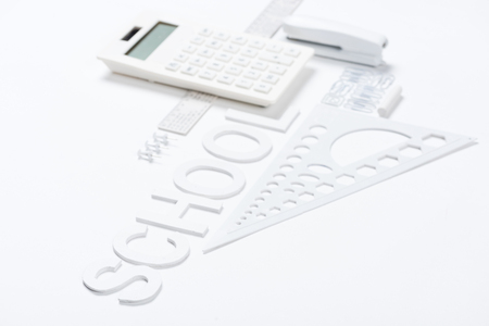 calculator with rulers and stapler with compasses mock-up Banco de Imagens - 80206485