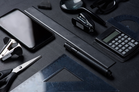 smartphone with various office utensils mock-up