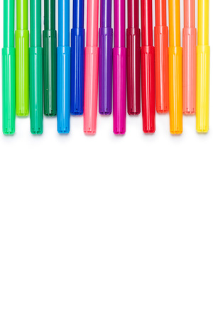 set of colorful felt tip pens isolated on white