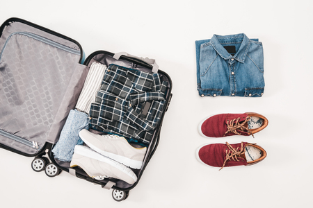 Overhead view of Travelers accessories, Essential vacation items, Travel concept background