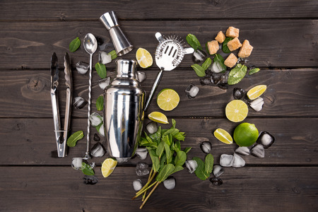 Top view of mojito cocktail ingredients and utensils on wooden table top, cocktail drinks concept Stock fotó