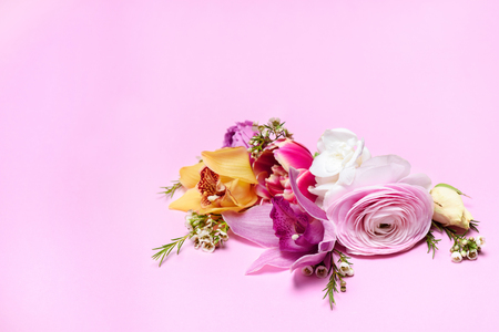 Close-up view of beautiful fresh blooming flowers isolated on pink Stock Photo