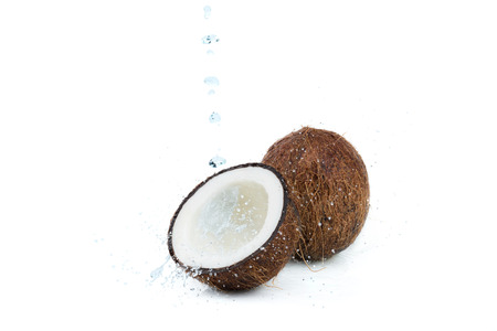 fresh ripe tropical coconuts with water isolated on white, coconut Stock Photo