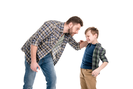 Father threatening and quarreling with little son