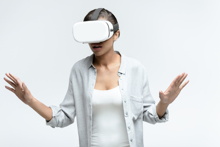 casual woman using Virtual reality headset