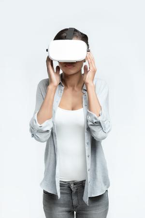 casual woman using Virtual reality headset