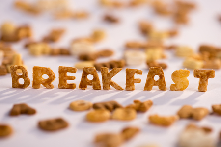 word breakfast and healthy breakfast cereal alphabet isolated on grey Imagens