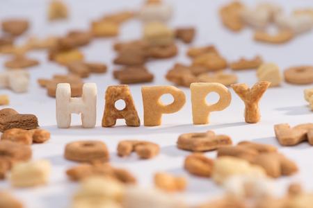 Close-up vista di parola felice e sano colazione cereali alfabeto Archivio Fotografico - 80603447