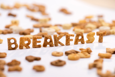 word breakfast and healthy breakfast cereal alphabet isolated on white Imagens