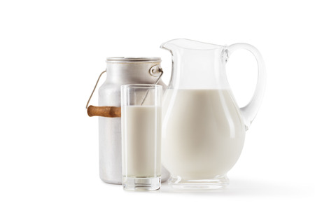 fresh milk in can, jug and glass