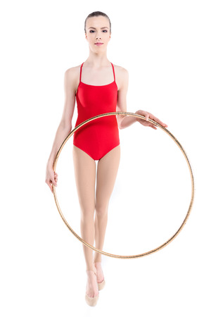 rhythmic gymnast training holding hoop in hands Stock fotó