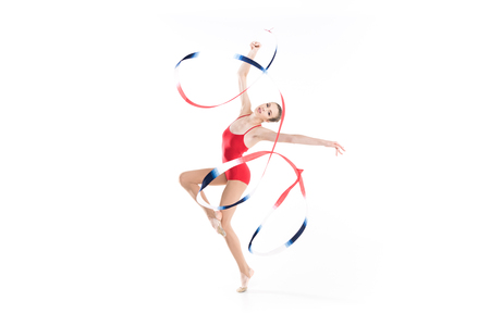 young caucasian woman rhythmic gymnast exercising with rope Stock fotó