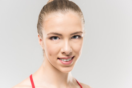 close up portrait of young caucasian woman rhythmic gymnast