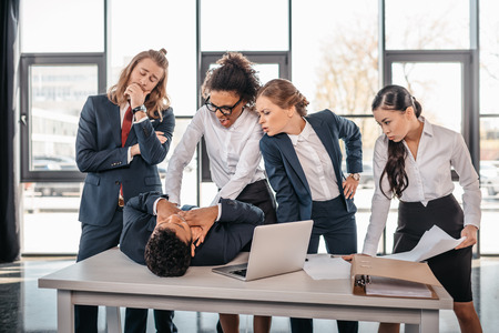 business team quarreling in office, business team working concept Stock Photo