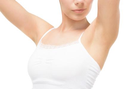白で隔離脇を示す白い下着の女性