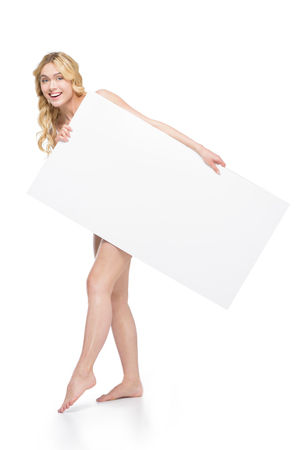 cheerful woman holding blank banner in hands