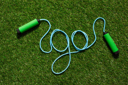 top view of skipping rope on the grass