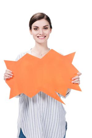 young caucasian woman holding blank speech bubble