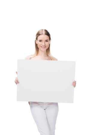 woman holding blank banner isolated on white