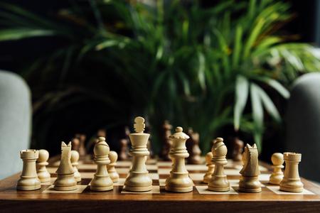 체스 체스 보드에 설정합니다. 흰색 체스 피 규 어에 선택적 초점