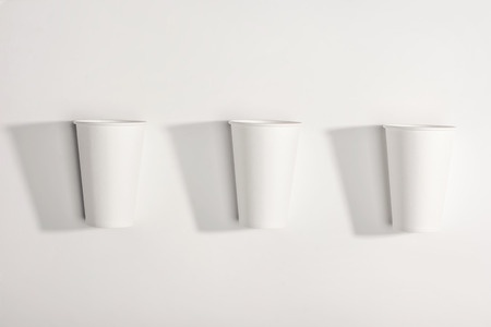 top view of white disposable paper cups