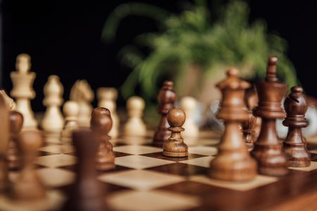 Chess set on the chess board with selective focus
