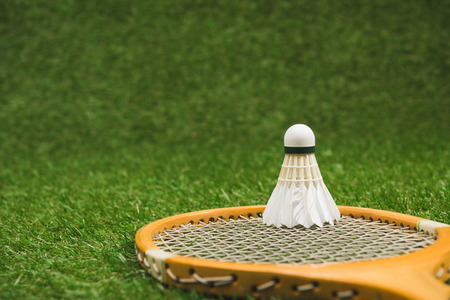 close up view of badminton racket and shuttlecock Stock Photo