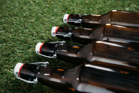 Closeup view of closed glass bottles of beer lying on green grass