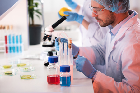 scientist during work at modern biological laboratory Stock Photo